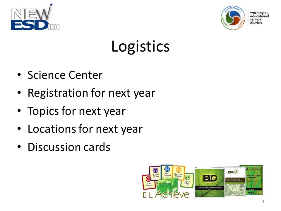Logistics Science Center Registration for next year Topics for next year Locations for next year Discussion cards 4
