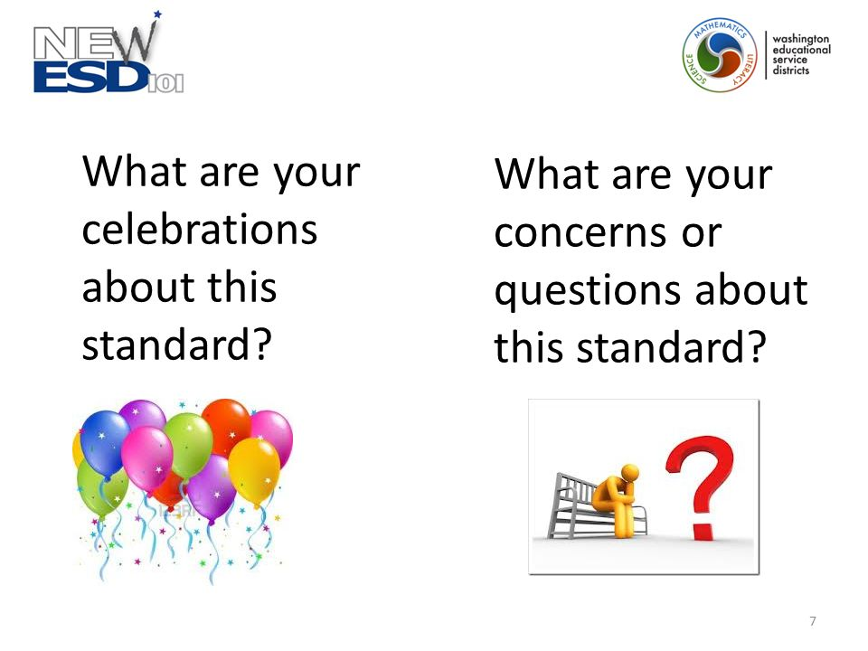What are your celebrations about this standard? What are your concerns or questions about this standard? 7