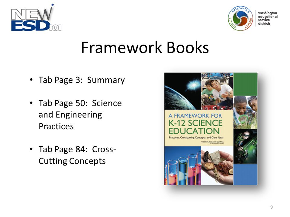 Framework Books Tab Page 3: Summary Tab Page 50: Science and Engineering Practices Tab Page 84: Cross- Cutting Concepts 9