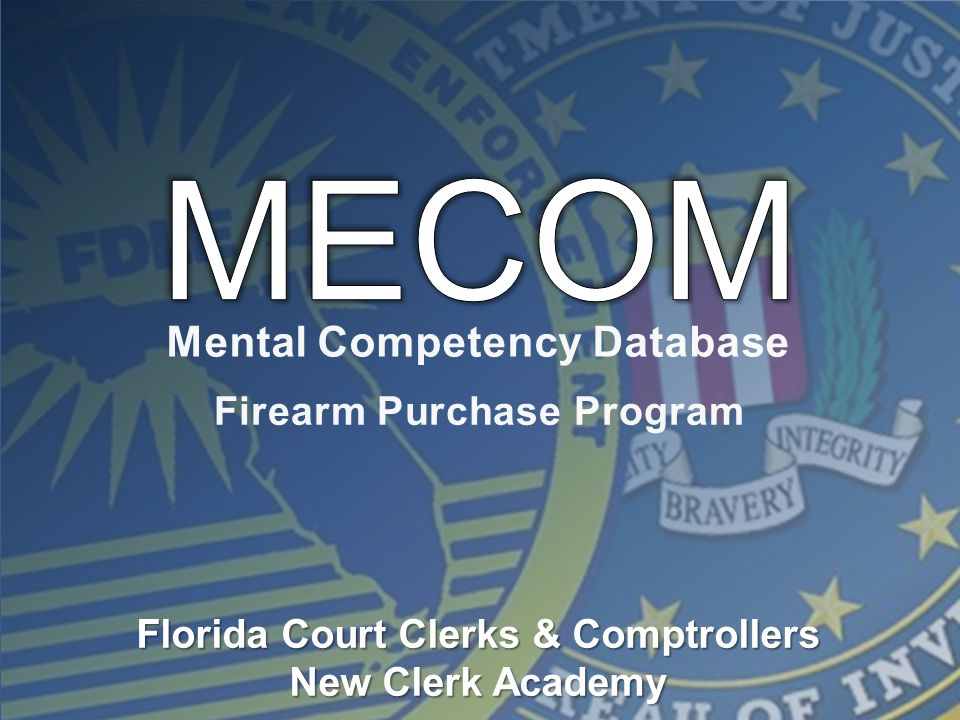 Mental Competency Database Firearm Purchase Program Florida Court Clerks & Comptrollers New Clerk Academy