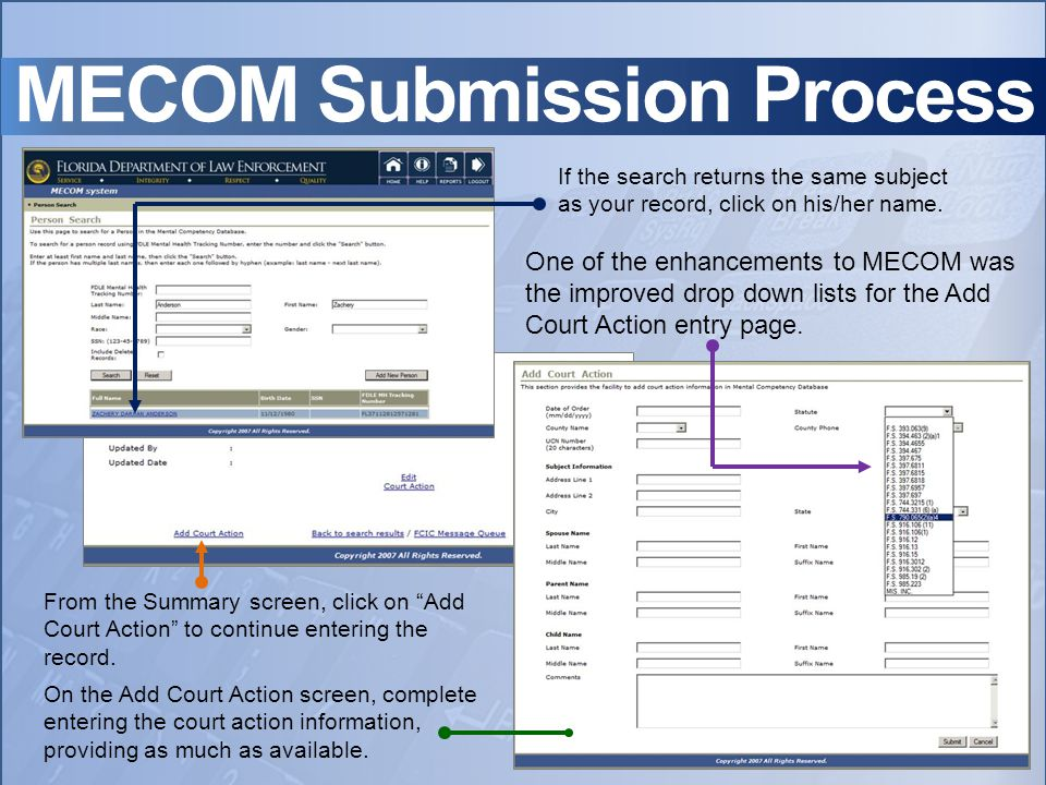 MECOM Submission Process If the search returns the same subject as your record, click on his/her name.