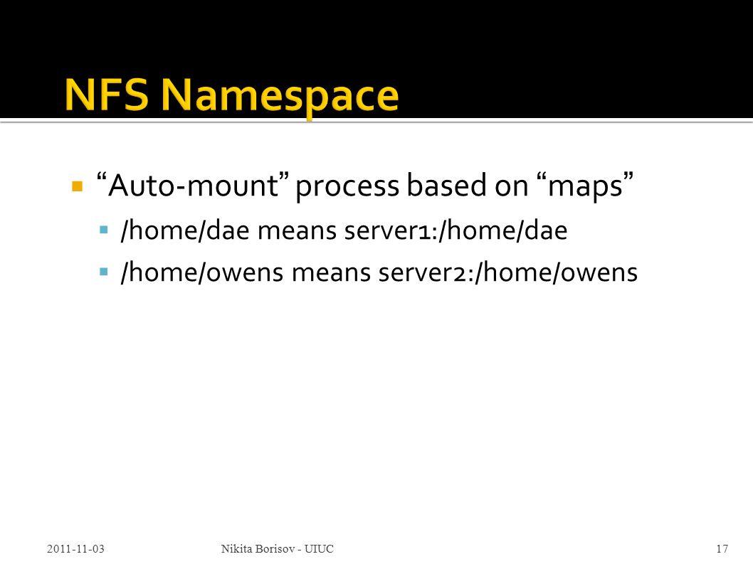 Auto-mount process based on maps  /home/dae means server1:/home/dae  /home/owens means server2:/home/owens 2011-11-03Nikita Borisov - UIUC17