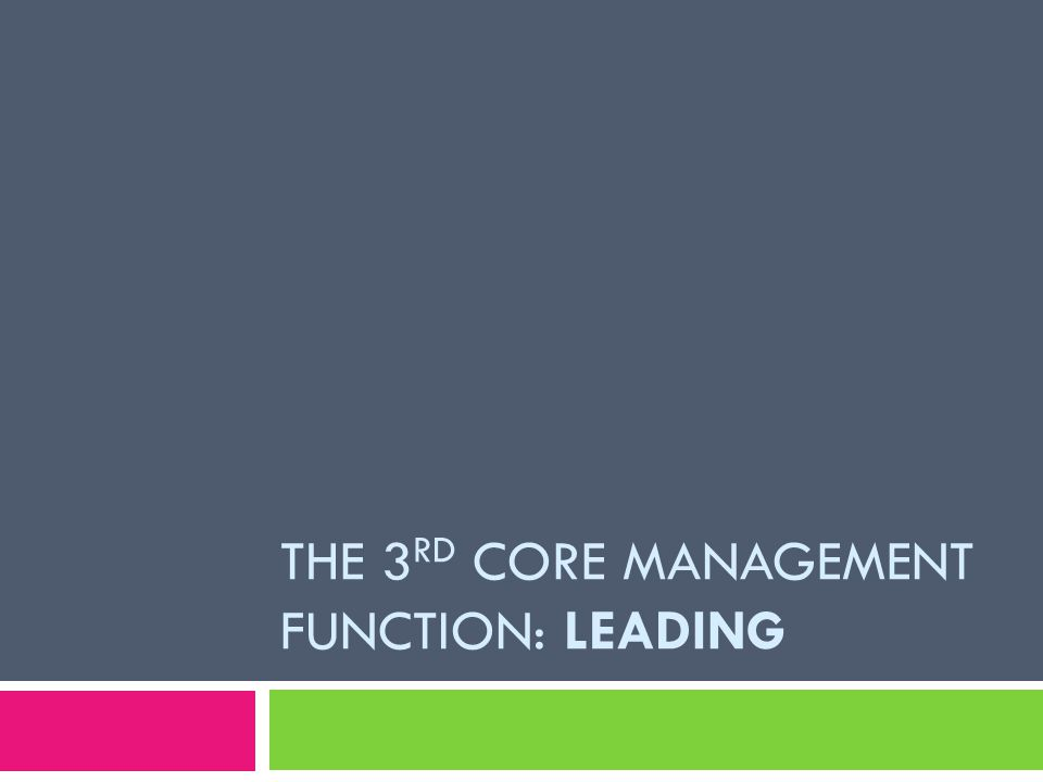 THE 3 RD CORE MANAGEMENT FUNCTION: LEADING