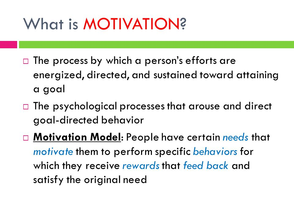 What is MOTIVATION?  The process by which a person's efforts are energized, directed, and sustained toward attaining a goal  The psychological proce
