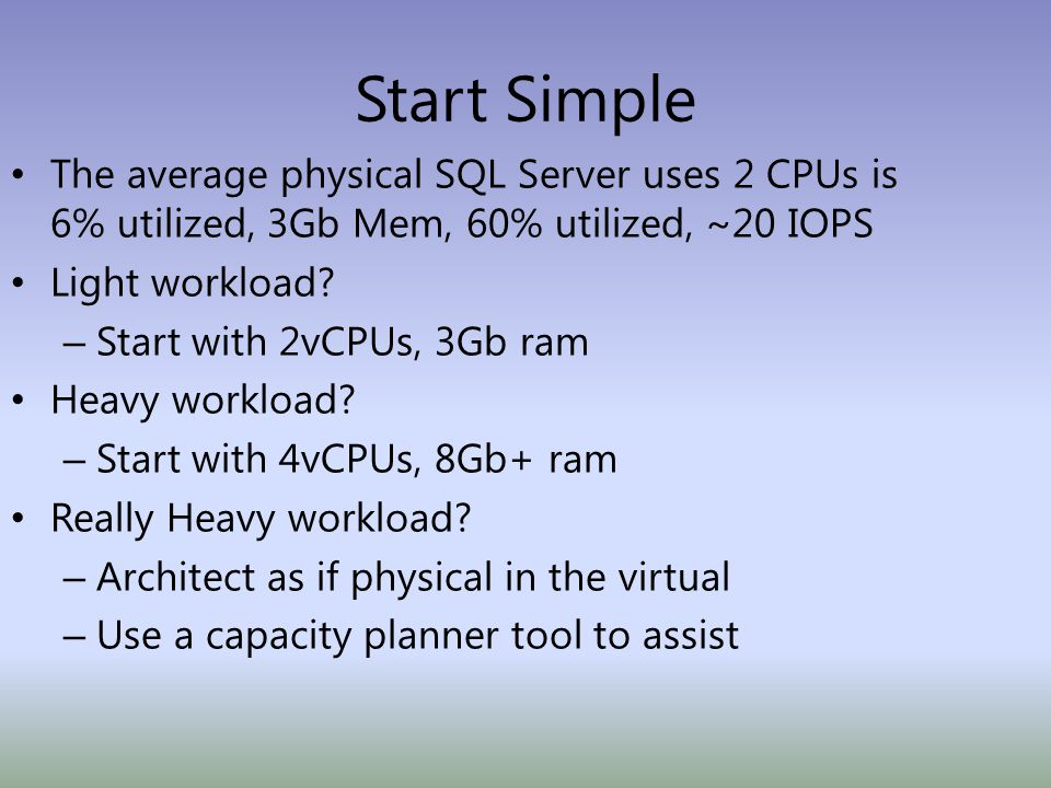 Start Simple The average physical SQL Server uses 2 CPUs is 6% utilized, 3Gb Mem, 60% utilized, ~20 IOPS Light workload.