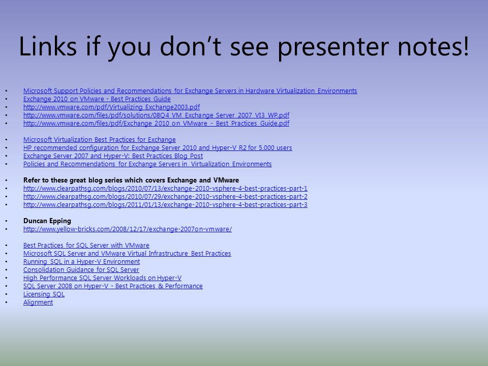 Links if you don't see presenter notes.