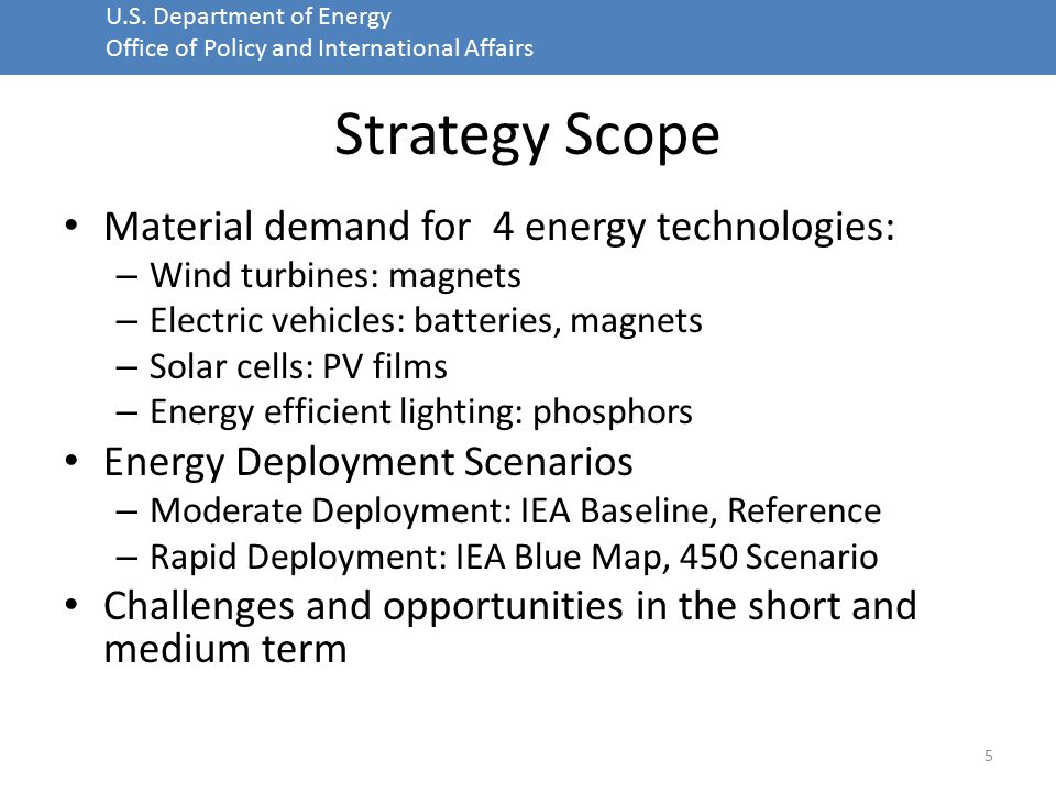 U.S. Department of Energy Office of Policy and International Affairs Strategy Scope Material demand for 4 energy technologies: – Wind turbines: magnet
