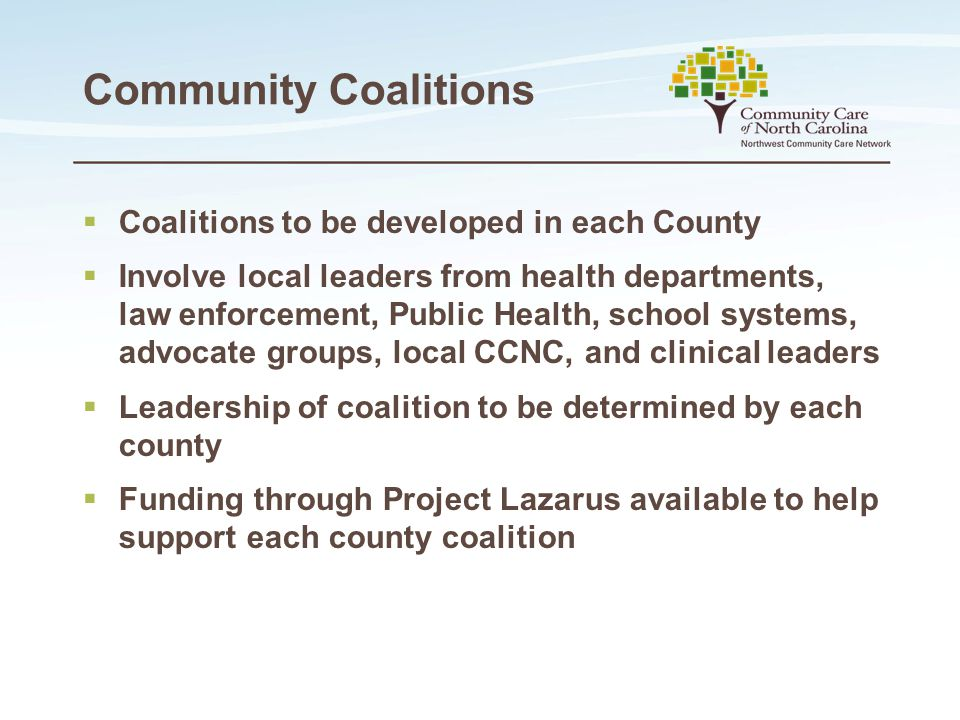 Community Coalitions  Coalitions to be developed in each County  Involve local leaders from health departments, law enforcement, Public Health, scho