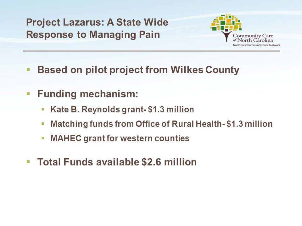 Project Lazarus: A State Wide Response to Managing Pain  Based on pilot project from Wilkes County  Funding mechanism:  Kate B. Reynolds grant- $1.