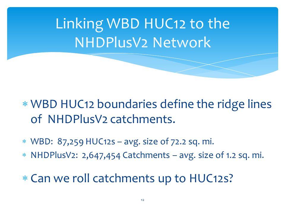 Linking WBD HUC12 to the NHDPlusV2 Network 12  WBD HUC12 boundaries define the ridge lines of NHDPlusV2 catchments.