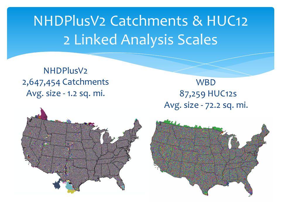 NHDPlusV2 Catchments & HUC12 2 Linked Analysis Scales NHDPlusV2 2,647,454 Catchments Avg.