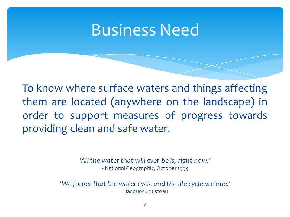 Business Need 3 'All the water that will ever be is, right now.' - National Geographic, October 1993 'We forget that the water cycle and the life cycle are one.' - Jacques Cousteau To know where surface waters and things affecting them are located (anywhere on the landscape) in order to support measures of progress towards providing clean and safe water.