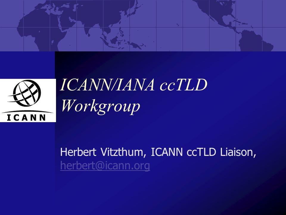 ICANN/IANA ccTLD Workgroup Herbert Vitzthum, ICANN ccTLD Liaison, herbert@icann.org herbert@icann.org