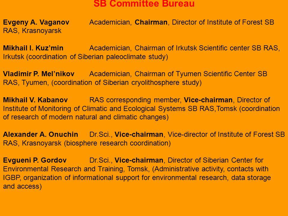 SB Committee Bureau Evgeny A. VaganovAcademician, Chairman, Director of Institute of Forest SB RAS, Krasnoyarsk Mikhail I. Kuz'minAcademician, Chairma