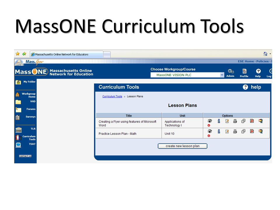 MassONE Curriculum Tools