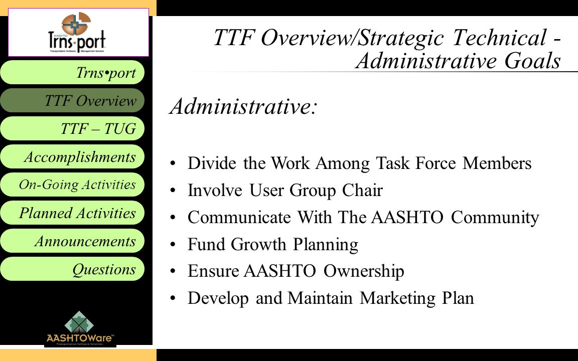 Accomplishments Planned Activities Announcements Questions TTF – TUG Trnsport On-Going Activities TTF Overview TTF Overview/Strategic Technical - Admi