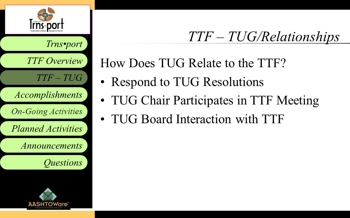 Accomplishments Planned Activities Announcements Questions TTF – TUG Trnsport On-Going Activities TTF Overview TTF – TUG/Relationships How Does TUG Re