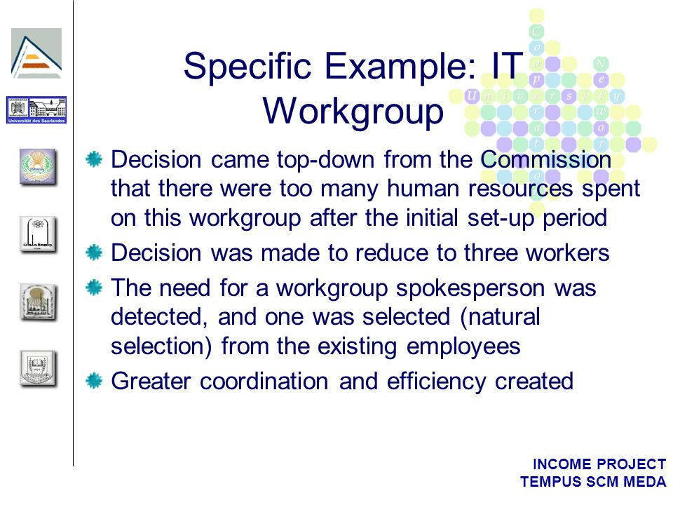 INCOME PROJECT TEMPUS SCM MEDA Specific Example : IT Workgroup Appraisals and reporting were initially set at 9 monthly intervals Appraisal led to training rewards: for example, a website positioning course held in Barcelona Other reward schemes: collaboration payments for initial setup processes, and praise from management, plus social benefits