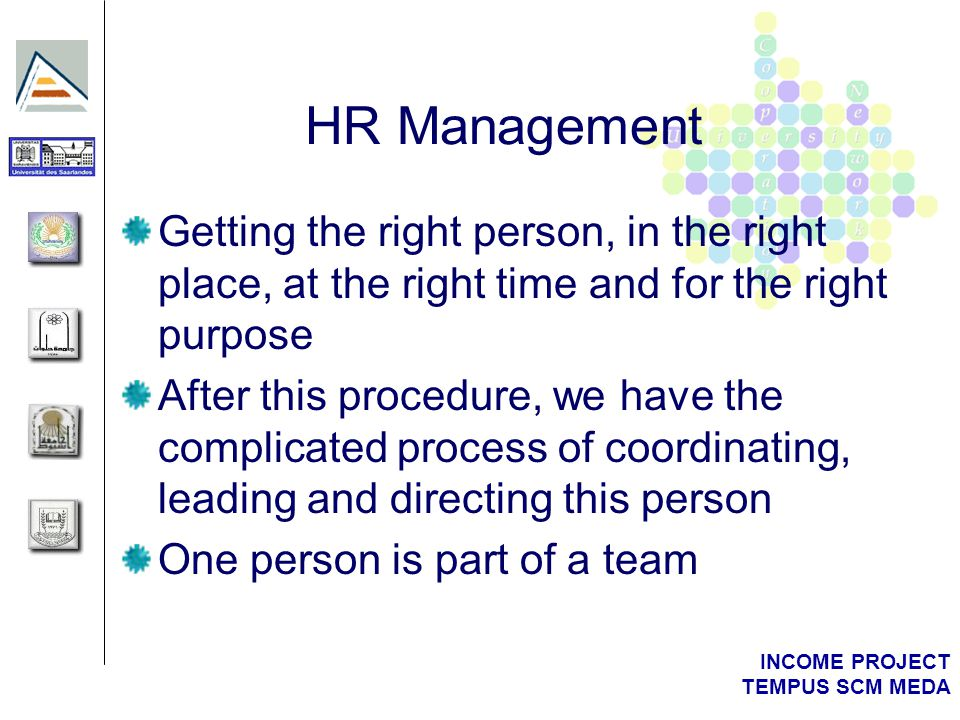 INCOME PROJECT TEMPUS SCM MEDA HR and Team Management Case Example: IPR Helpdesk Project (Contract Nº IPS-2001-40004)
