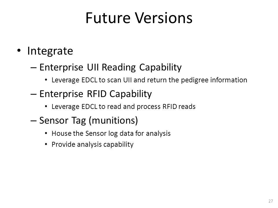 Future Versions Integrate – Enterprise UII Reading Capability Leverage EDCL to scan UII and return the pedigree information – Enterprise RFID Capabili