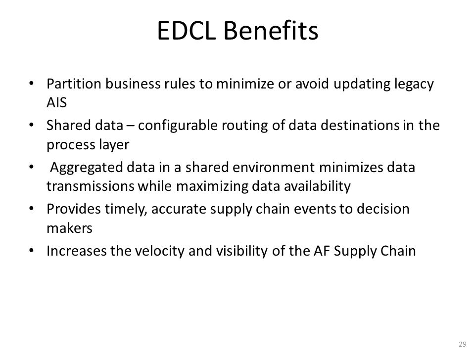 EDCL Benefits Partition business rules to minimize or avoid updating legacy AIS Shared data – configurable routing of data destinations in the process