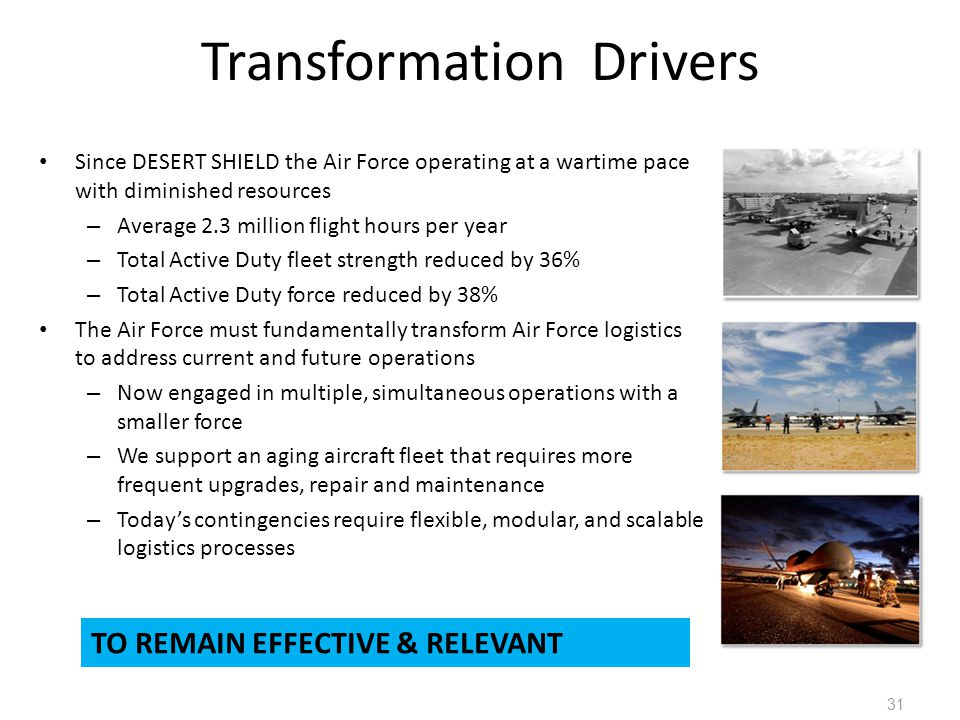 Transformation Drivers Since DESERT SHIELD the Air Force operating at a wartime pace with diminished resources – Average 2.3 million flight hours per