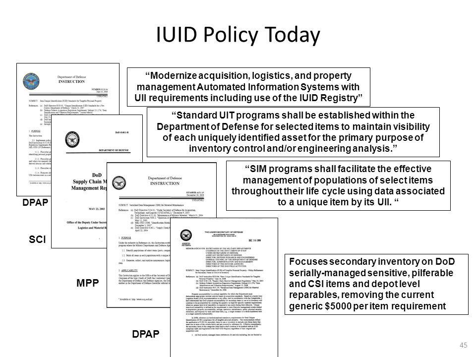 """IUID Policy Today MPP """"Modernize acquisition, logistics, and property management Automated Information Systems with UII requirements including use of"""