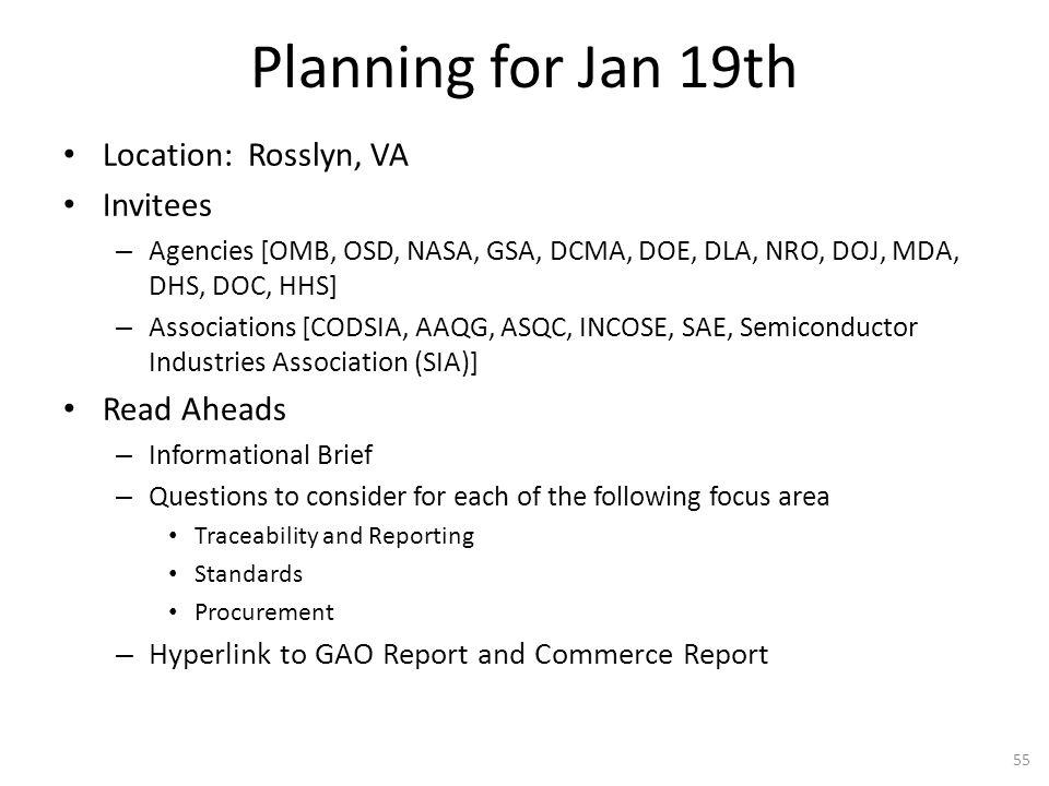 Planning for Jan 19th Location: Rosslyn, VA Invitees – Agencies [OMB, OSD, NASA, GSA, DCMA, DOE, DLA, NRO, DOJ, MDA, DHS, DOC, HHS] – Associations [CO