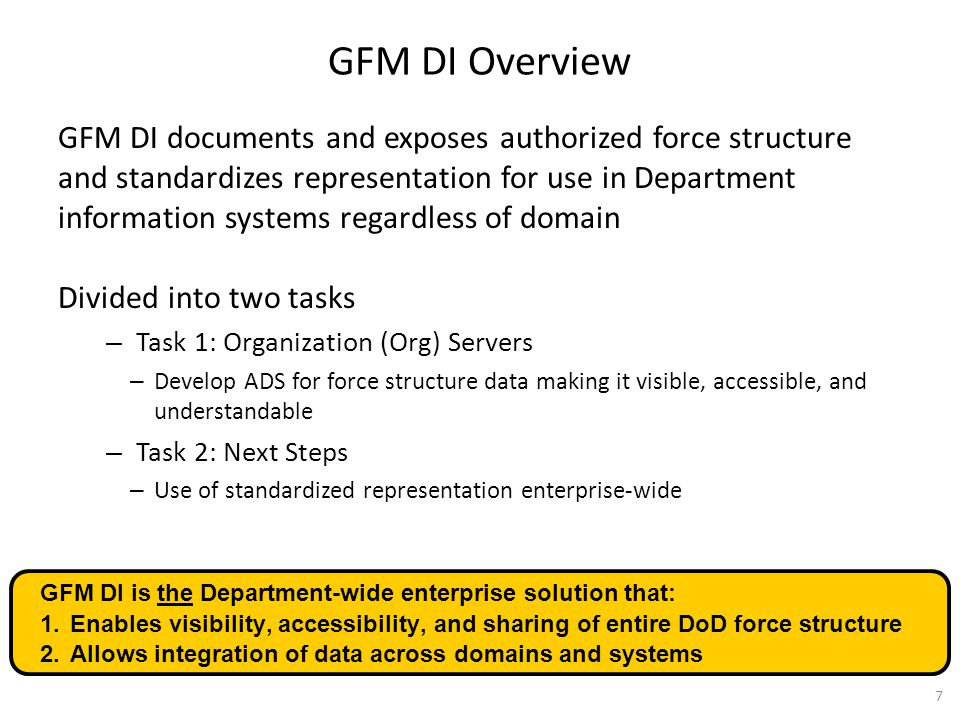 GFM DI Overview GFM DI documents and exposes authorized force structure and standardizes representation for use in Department information systems rega