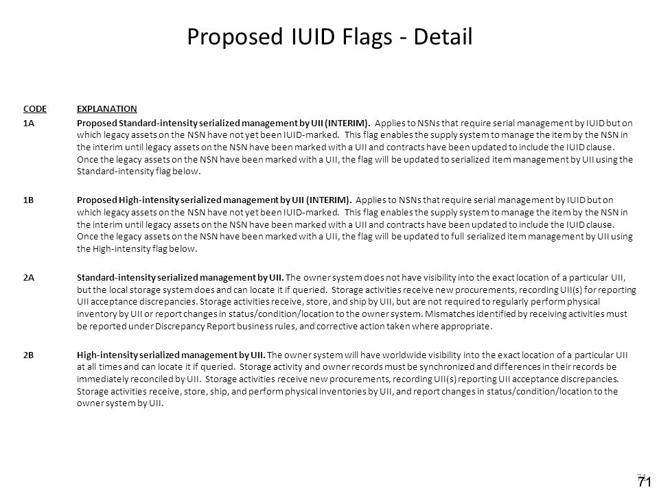 71 Proposed IUID Flags - Detail CODEEXPLANATION 1AProposed Standard-intensity serialized management by UII (INTERIM). Applies to NSNs that require ser