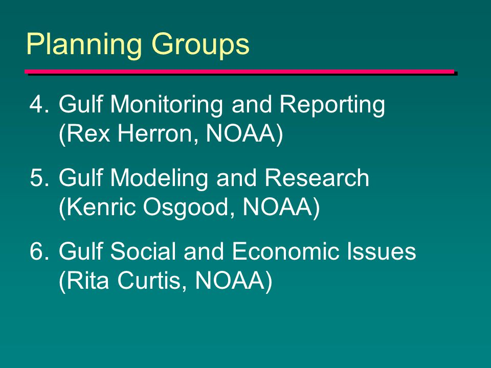 Planning Groups 4.Gulf Monitoring and Reporting (Rex Herron, NOAA) 5.Gulf Modeling and Research (Kenric Osgood, NOAA) 6.Gulf Social and Economic Issues (Rita Curtis, NOAA)