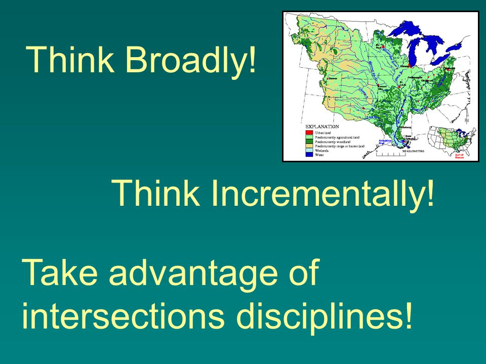 Think Broadly! Think Incrementally! Take advantage of intersections disciplines!