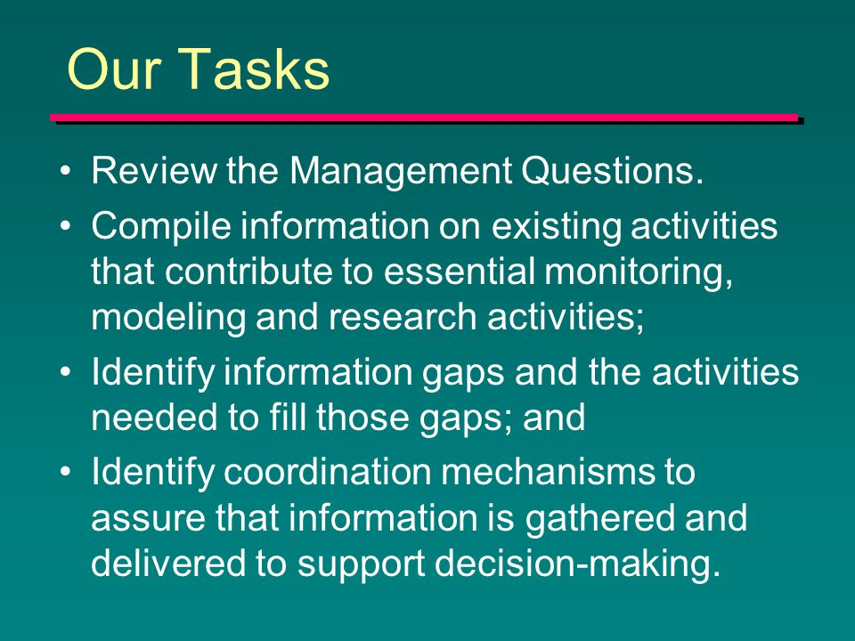 Our Tasks Review the Management Questions.