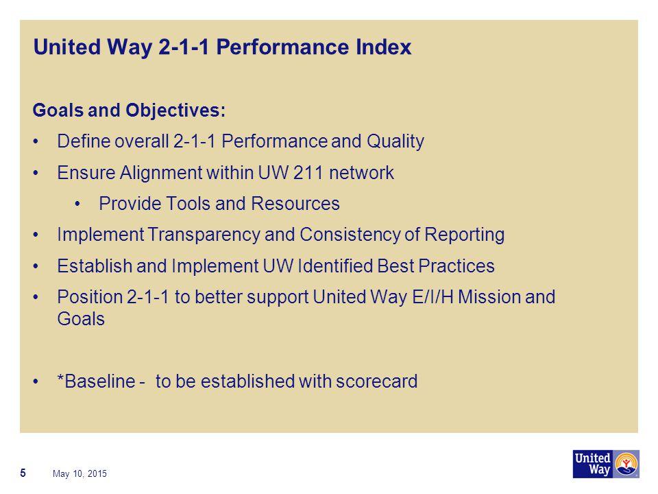 6 United Way 2-1-1 Performance Index - Database May 10, 2015