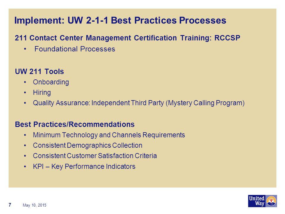 Implement: UW 2-1-1 Best Practices Processes 211 Contact Center Management Certification Training: RCCSP Foundational Processes UW 211 Tools Onboardin