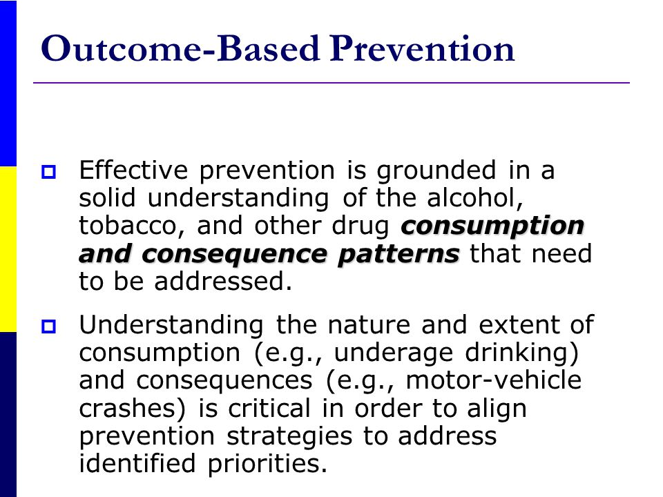 Substance- Related Consequence and Use Risk and Protective/C ausal Variables Programs/P olicies/ Practices Implementing the Strategic Prevention Framework Planning, Monitoring, Evaluation and Replanning Outcome-Based Prevention