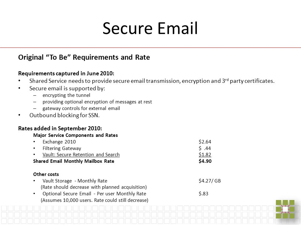 "Secure Email Original ""To Be"" Requirements and Rate Requirements captured in June 2010: Shared Service needs to provide secure email transmission, enc"