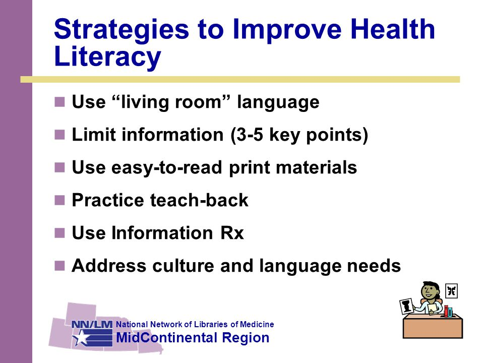 National Network of Libraries of Medicine MidContinental Region Strategies to Improve Health Literacy Use living room language Limit information (3-5 key points) Use easy-to-read print materials Practice teach-back Use Information Rx Address culture and language needs