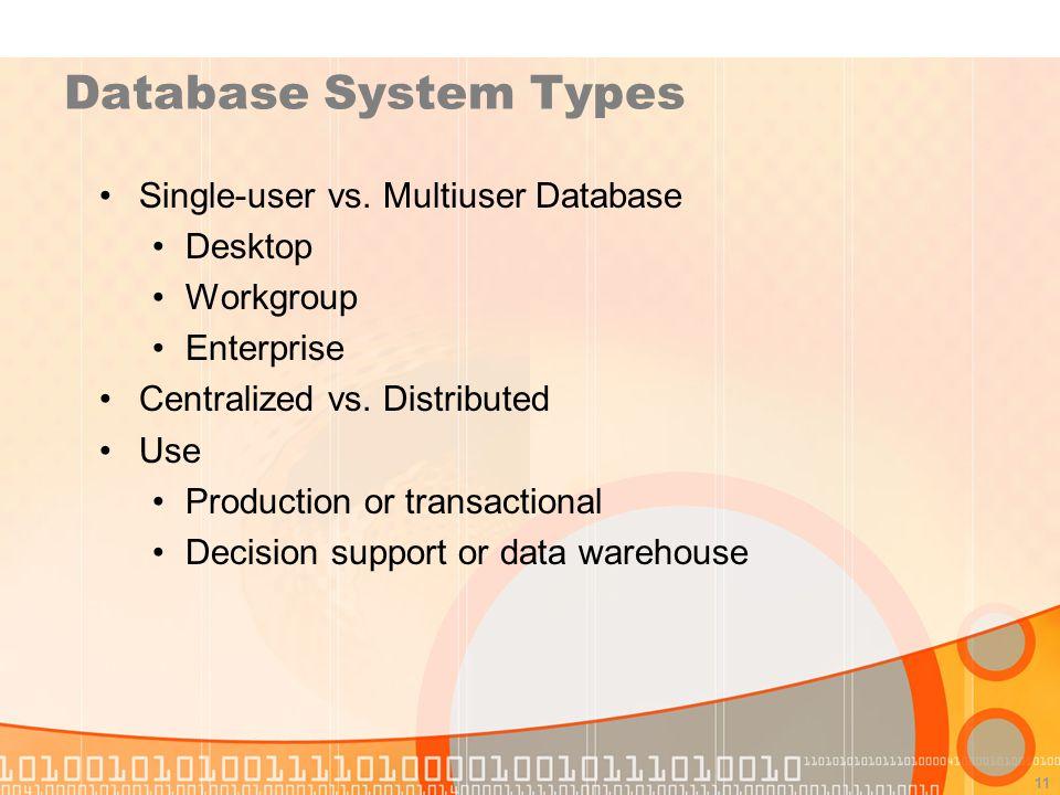 11 Database System Types Single-user vs. Multiuser Database Desktop Workgroup Enterprise Centralized vs. Distributed Use Production or transactional D
