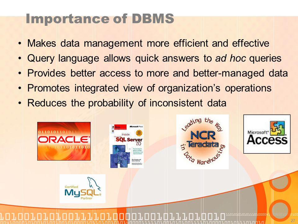 27 Importance of DBMS Makes data management more efficient and effective Query language allows quick answers to ad hoc queries Provides better access