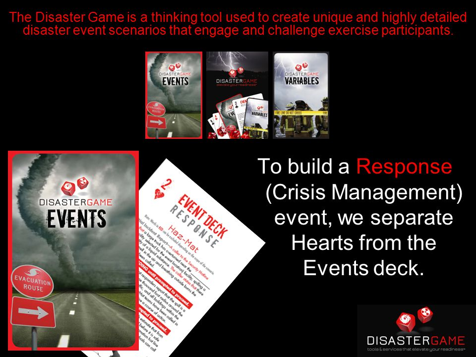 To build a Response (Crisis Management) event, we separate Hearts from the Events deck.