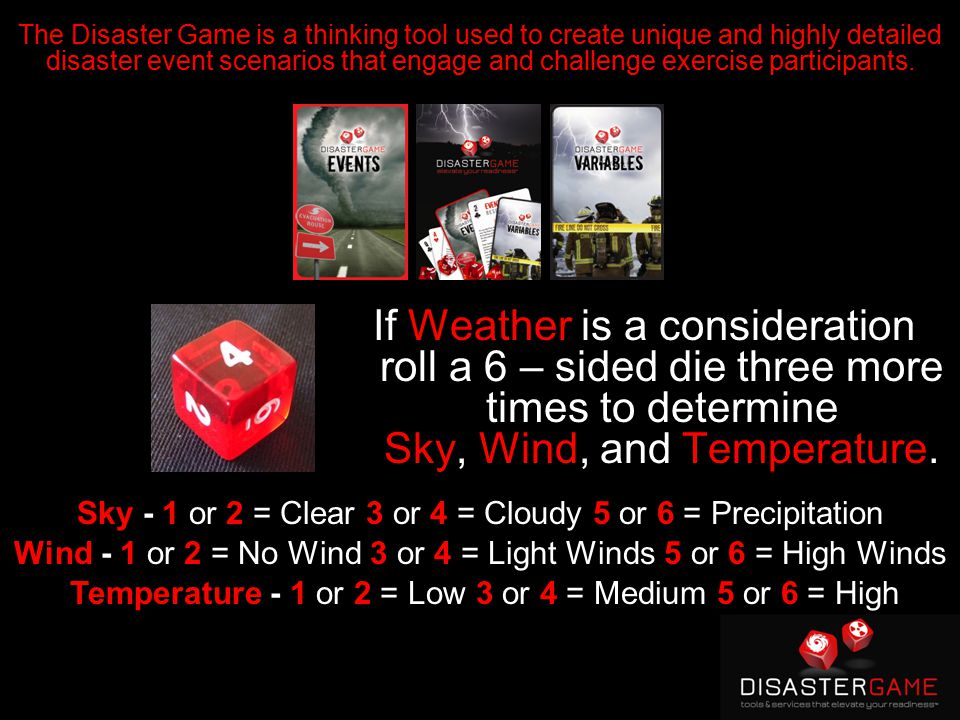 If Weather is a consideration roll a 6 – sided die three more times to determine Sky, Wind, and Temperature.