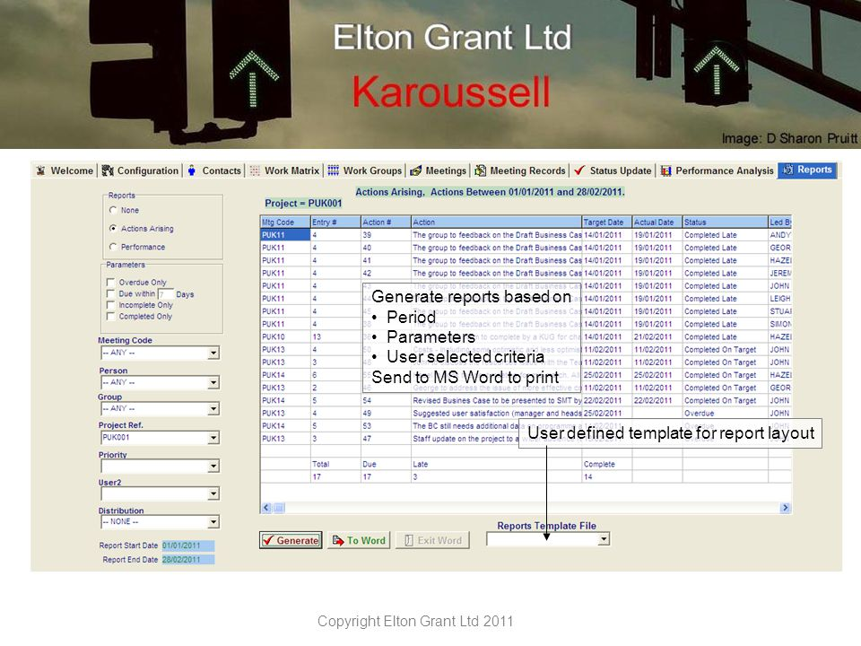 Copyright Elton Grant Ltd 2011 Generate reports based on Period Parameters User selected criteria Send to MS Word to print User defined template for report layout