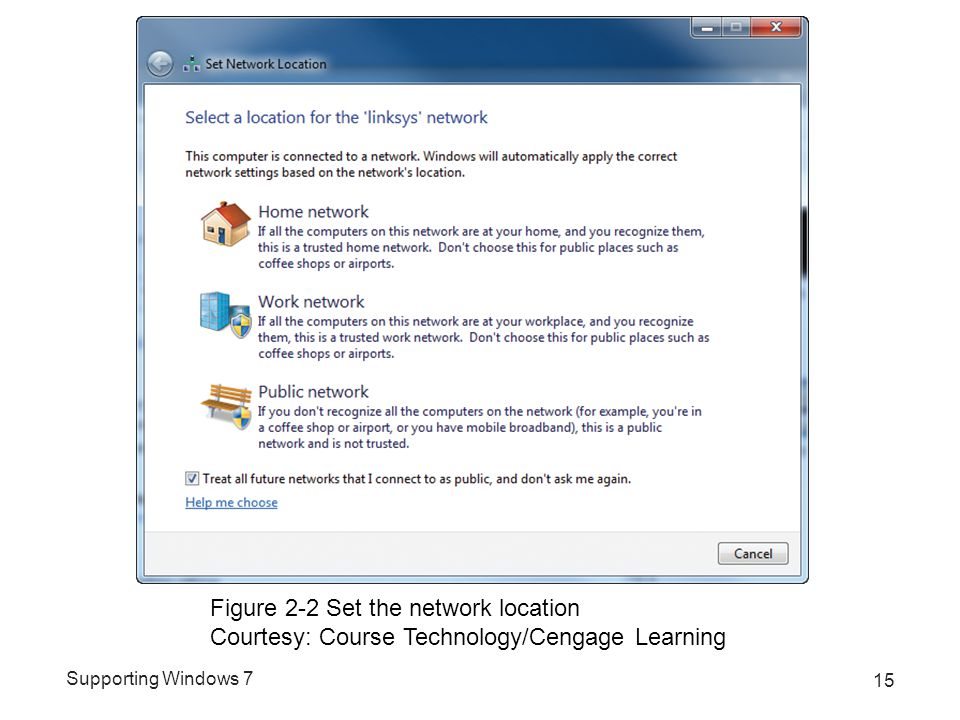 Supporting Windows 7 15 Figure 2-2 Set the network location Courtesy: Course Technology/Cengage Learning