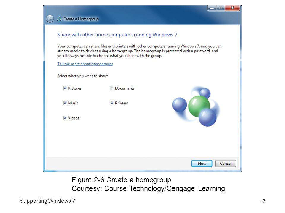 Supporting Windows 7 17 Figure 2-6 Create a homegroup Courtesy: Course Technology/Cengage Learning