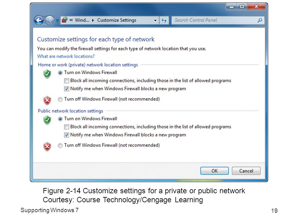 Supporting Windows 7 19 Figure 2-14 Customize settings for a private or public network Courtesy: Course Technology/Cengage Learning