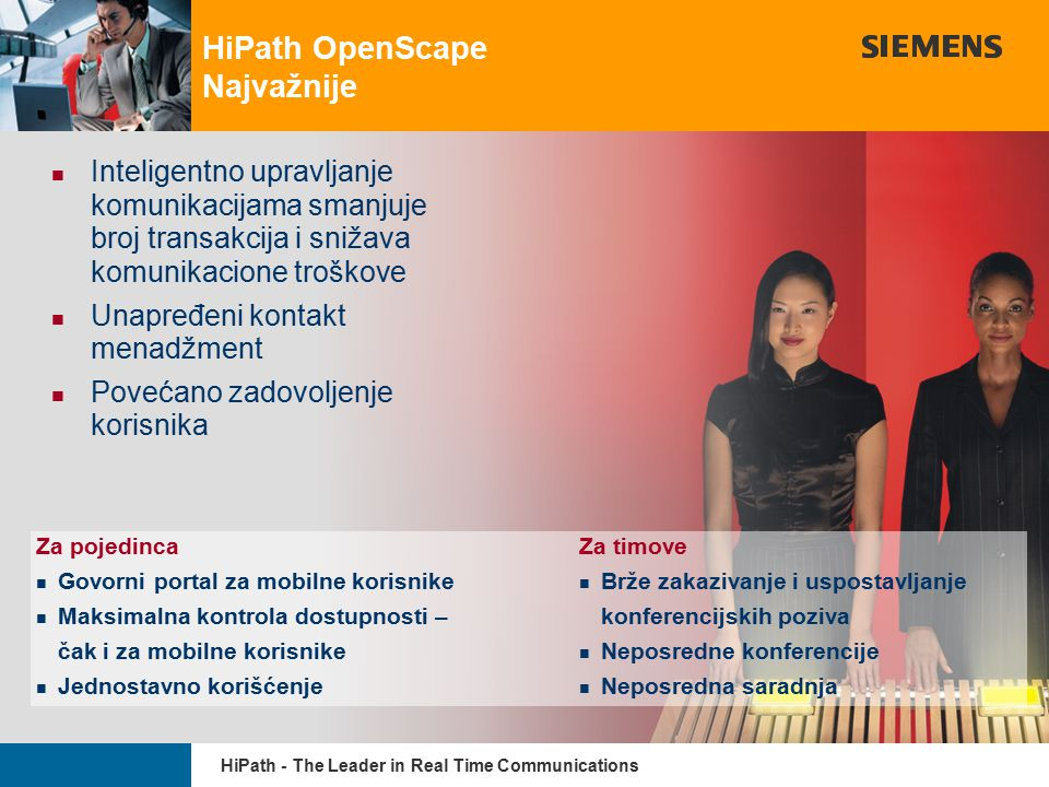 9,825,461,087,64 10,91 6,00 0,00 8,00 HiPath - The Leader in Real Time Communications 5/10/2015 page 10 HiPath OpenScape Najvažnije Inteligentno uprav