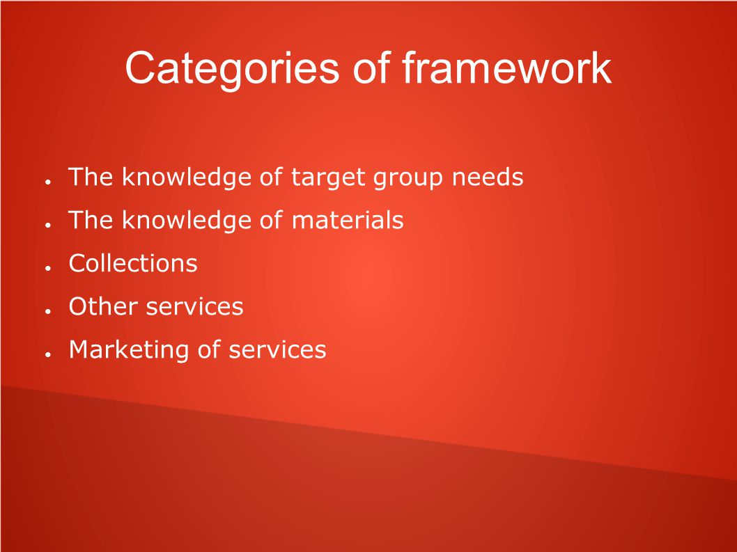 Categories of framework ● The knowledge of target group needs ● The knowledge of materials ● Collections ● Other services ● Marketing of services