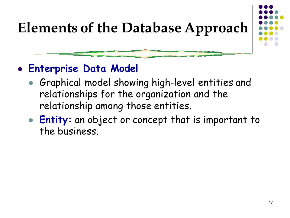 17 Elements of the Database Approach Enterprise Data Model Graphical model showing high-level entities and relationships for the organization and the relationship among those entities.