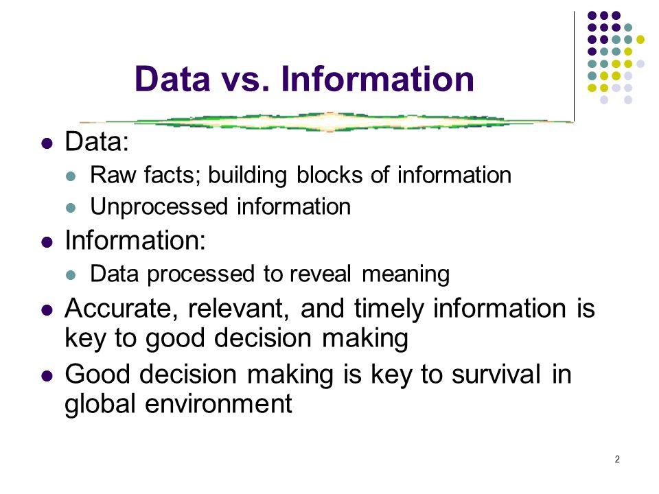 2 Data vs.